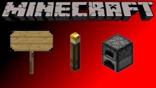 Minecraft Como Fazer -  Placa, Tocha e Fornalha