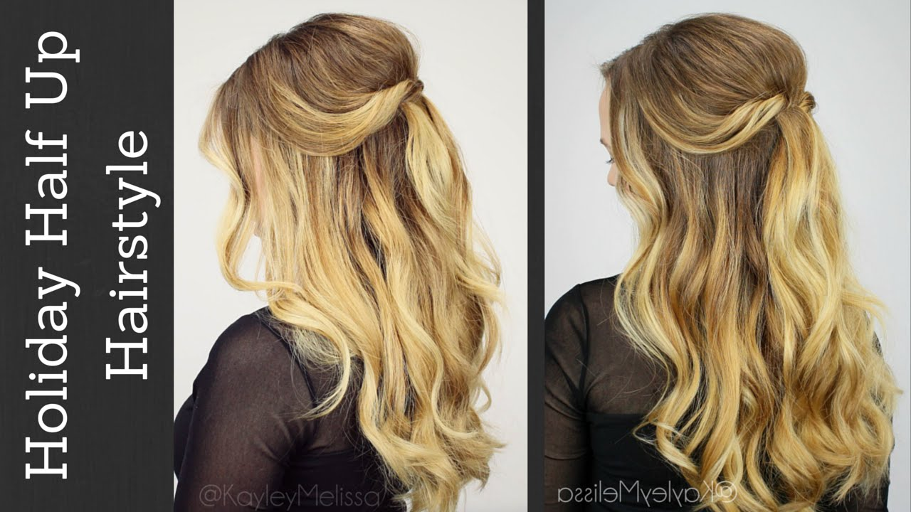 Holiday half updo with tousled waves youtube solutioingenieria Gallery