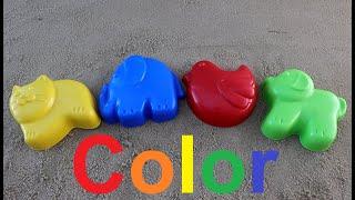 Learn colors for children. Sandy forms funny cat little bird dog elephant/учим цвета