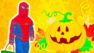 Макс Человек Паук и Мики Маус на Хэллоуин Много Вкусных Конфет Америка Влог spiderman halloween