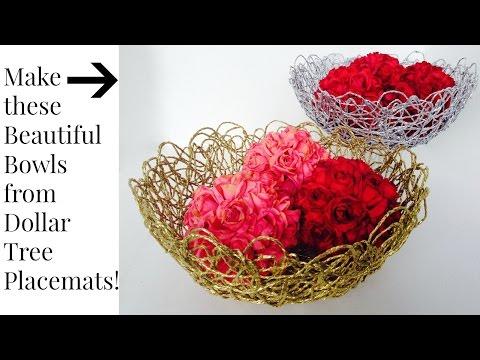 DOLLAR TREE $1 Placemats Make Artistic Bowls DIY