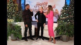 Michael B. Jordan, Chrissy Teigen & Ellen Pose for a Holiday Photo with a Lucky Fan!