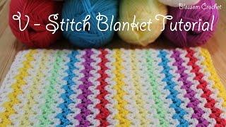 SUPER easy Crochet V Stitch Blanket/Scarf