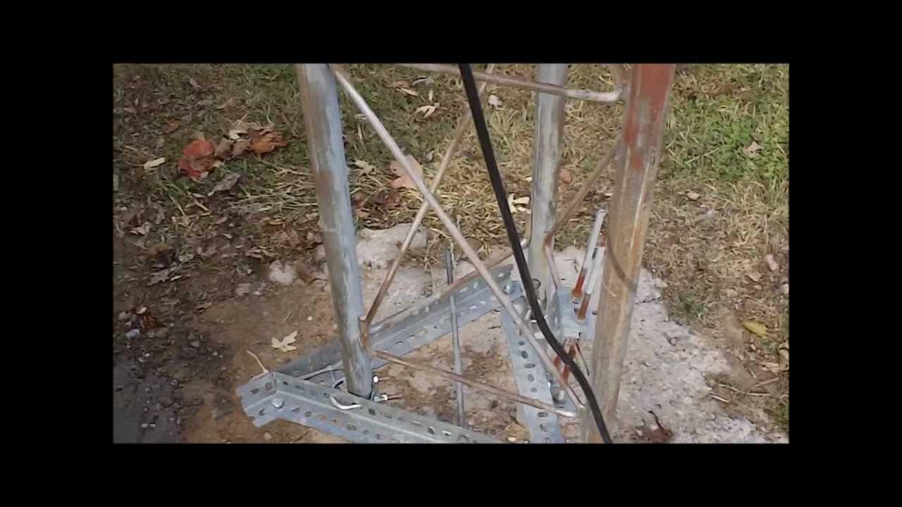 Beggining of winch pole setup for Rohn 25 Z tower on break over 1st video