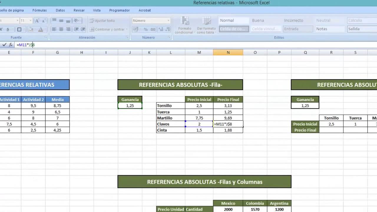 Tutorial Excel (Cap. 85) Referencias Relativas y Absolutas ...