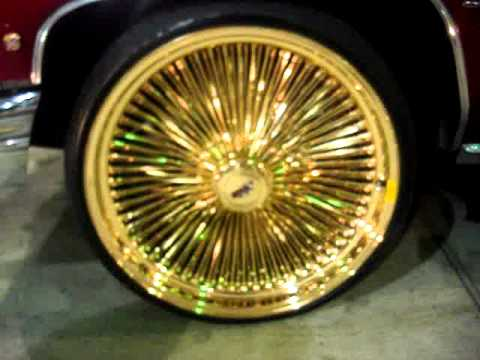 1976 Candy Apple Red Caillac On 24 All Gold Daytons Rims Youtube