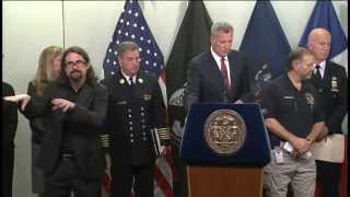 Mayor de Blasio Hosts Press Conference at Office of Emergency Management