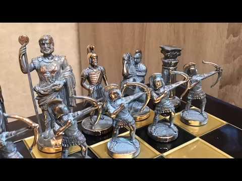 """Шахматный набор """"Лучники Античные войны"""" синяя доска 44x44, Manopoulos Chess Set S10"""