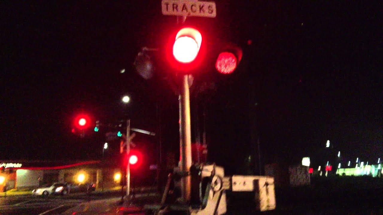 Metro Sacramento Light Rail At Railroad Crossing Night 1080p HD