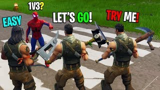 Spiderman challenges 3 noobs to a 1v3 in Playground! (INSANE BUILD BATTLES)