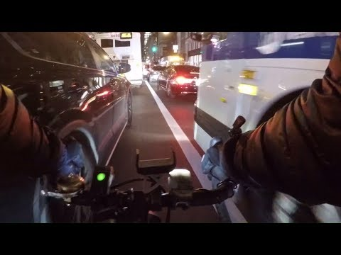 Lane splitting 5th Avenue during the Holidays to the Meatpacking District (Chest Cam)