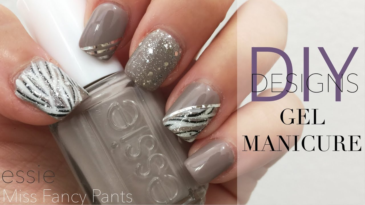 DIY Gel Nails Manicure & Designs | #Essie Miss Fancy Pants - YouTube