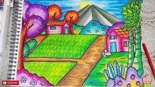 Pemandangan Gunung - Cara menggambar dan mewarnai dengan gradasi warna oil pastel MUDAH