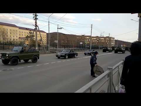 Репетиция парада в Южно-Сахалинске