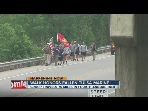 Group walks to honor fallen Tulsa Marine Jared Shoemaker, raises money for Special Olympics Oklahoma