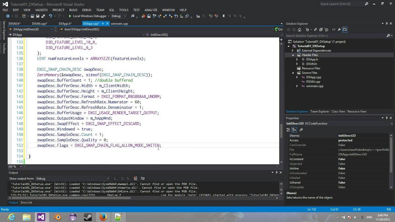 DirectX 11 Tutorial 01: DirectX Setup