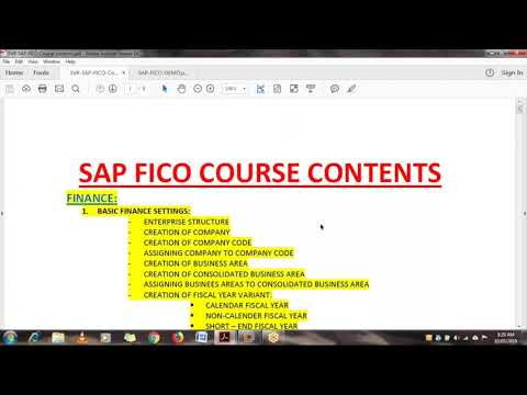 Explanation to Sap fico course content