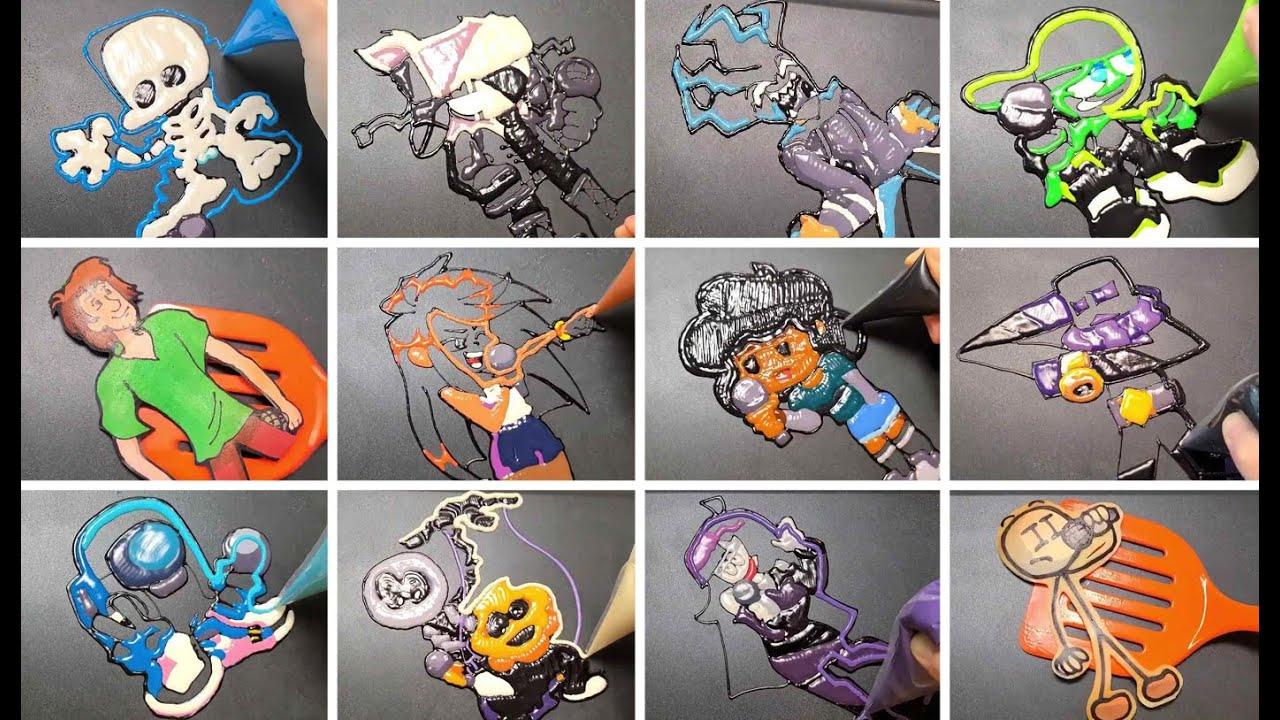 FRIDAY NIGHT FUNKIN Pancake art Challenge/Boyfriend, Fun sized Ruv, Agoti, Minus, Shaggy, Ayana, FNF