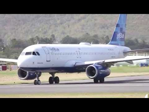 JetBlue taking off St.Lucia  A320 (behind the scenes excitement)