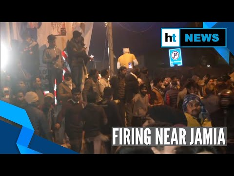 Watch: 2 men open fire near Jamia, students protest outside police station