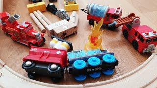 Thomas and Friends Train Crash Brio Fire Trucks Police Kids Playing Railway Wooden Toy Trains