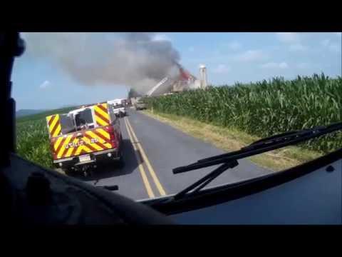 Helmet Cam - Lower Allen Rescue 12 responding to Monroe Twp Barn Fire 07082016