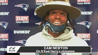 New england patriots quarterback cam newton explained why he calls wide receiver n'keal harry, 'doughboy.'-----------------------subscribe: http://www.nesn.c...