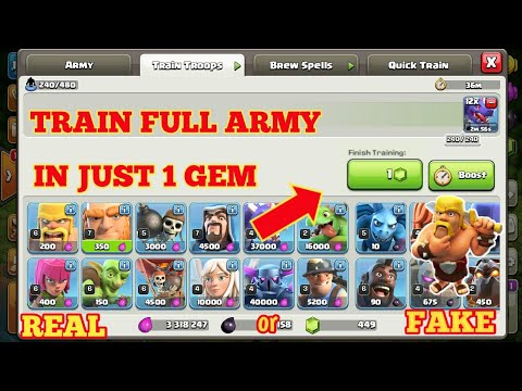 TRAIN FULL ARMY IN JUST 1 GEM !!? REAL OR FAKE !!? GLITCH !? COC STATION.