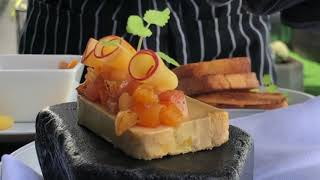 Apricot menu 2020 at Ember VII Heaven. Foie Gras with apricot by Chef Rendy Mihardja