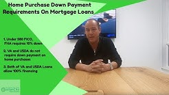 Home Purchase Down Payment Requirements On Mortgage Loans