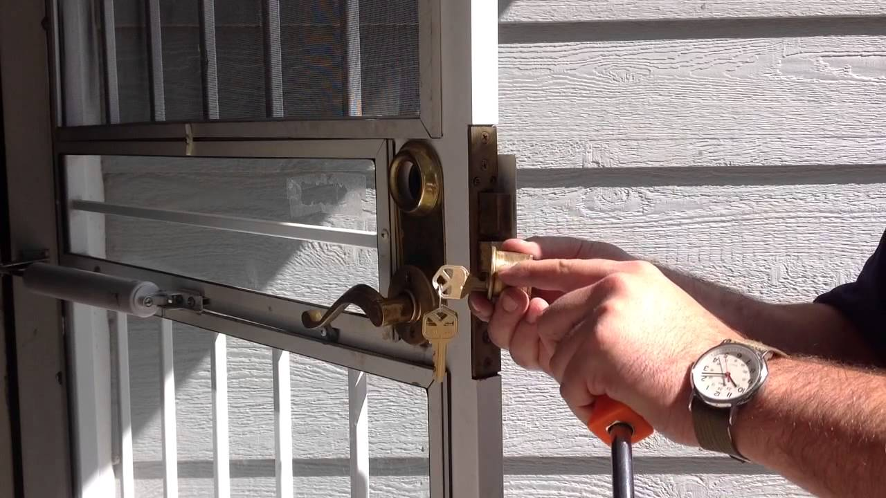 Security gate cylinder removal - YouTube