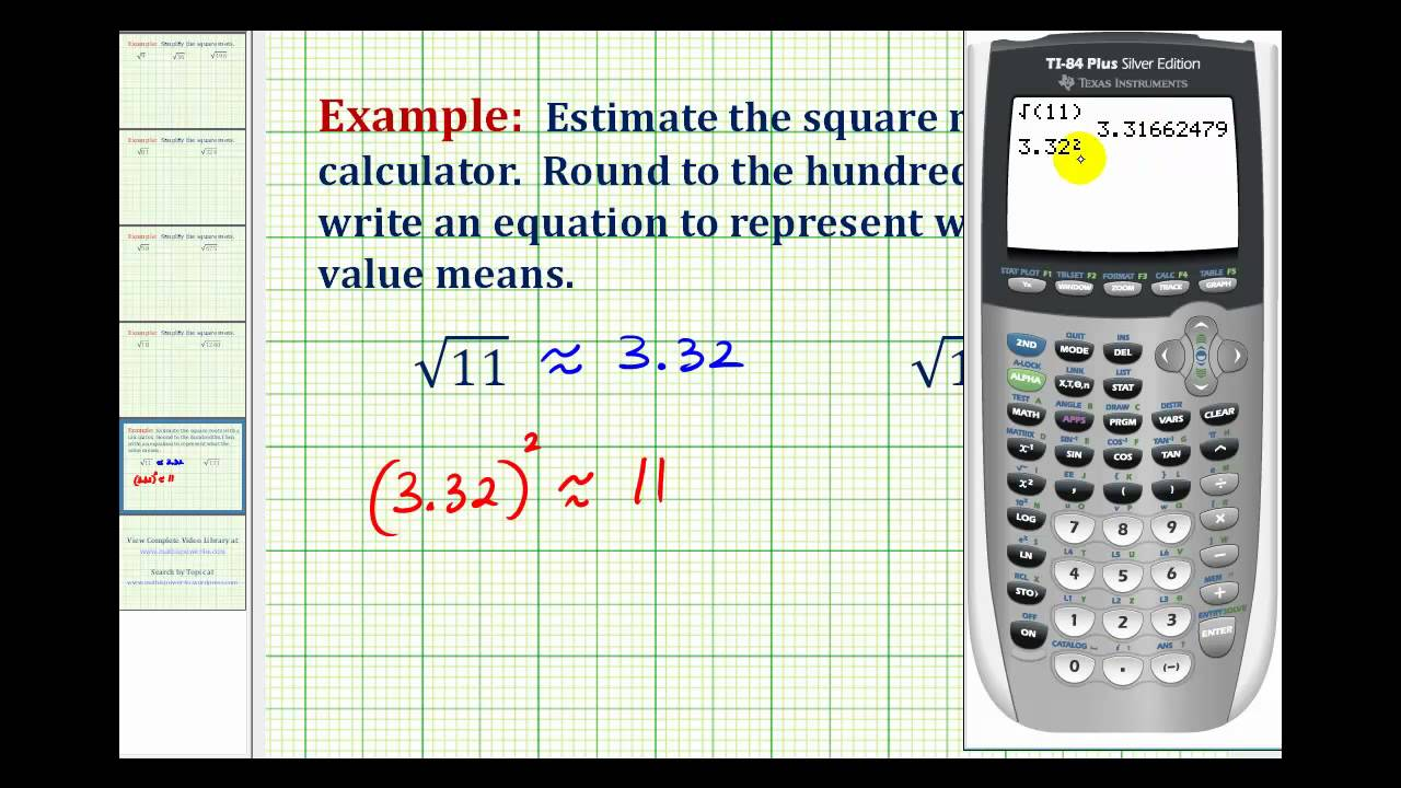 ex  estimating square roots with a calculator