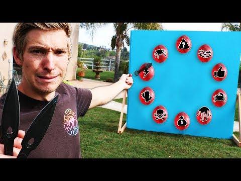 Throwing Knife VS Mystery Balloons!! *SECRET NINJA PUNISHMENTS*