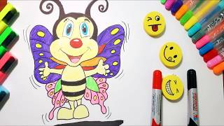 How to Draw a Butterfly Cute Step by step for Kids | Colors For Kids Learning