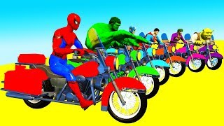 Kid Color LEARN FUN Spiderman Cartoon on Motor Bikes Police Cars Chasing And Avengers for Children