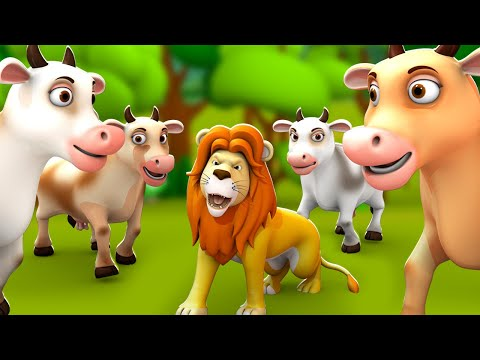 The Lion & The Cows 3D Animated Hindi Moral Stories For Kids शेर और गायों कहानी Kids Tales