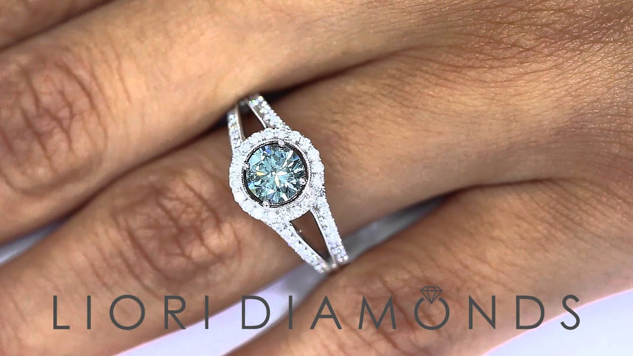 FD 139 1 27 Carat Fancy Blue Diamond Engagement Ring 18k White
