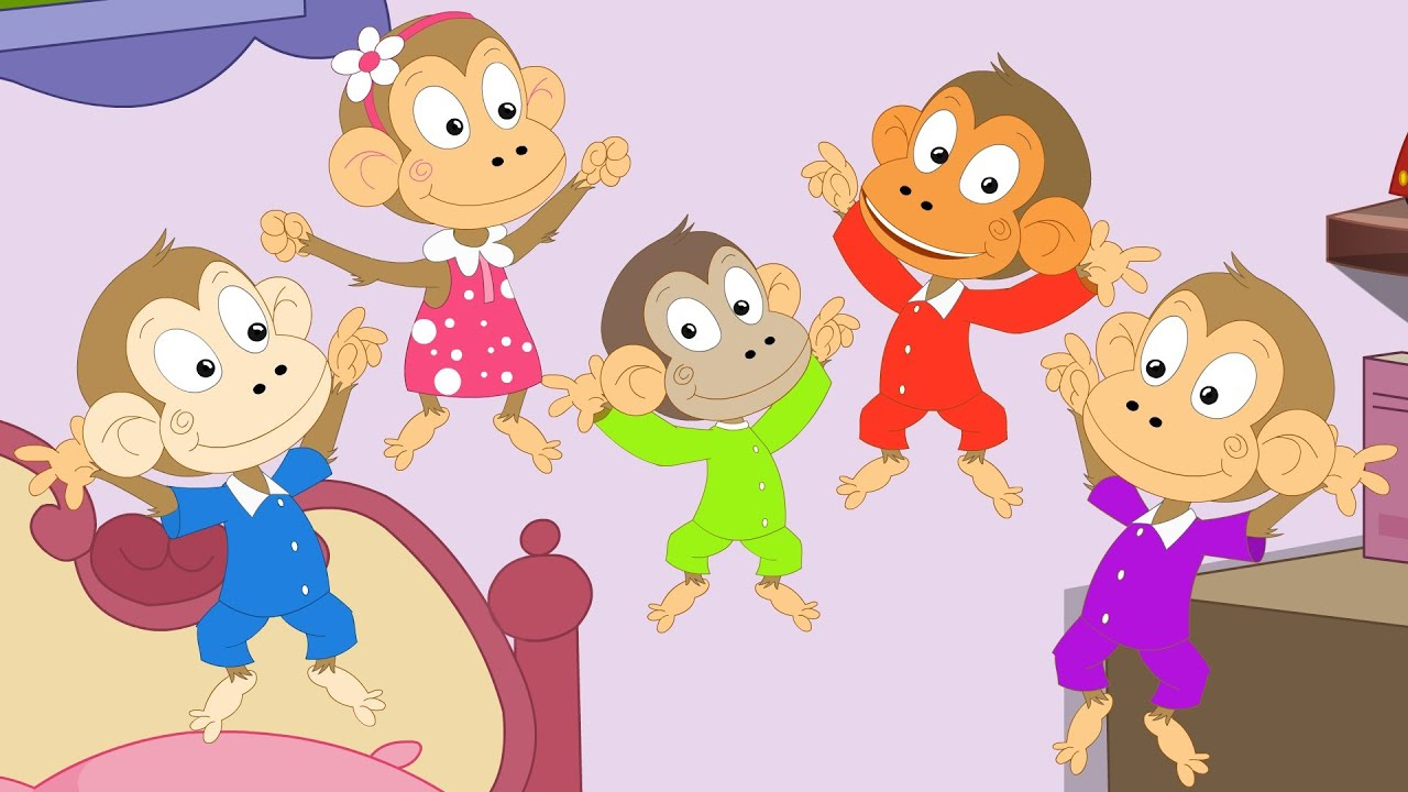Five Little Monkeys Jumping On The Bed Coloring Pages