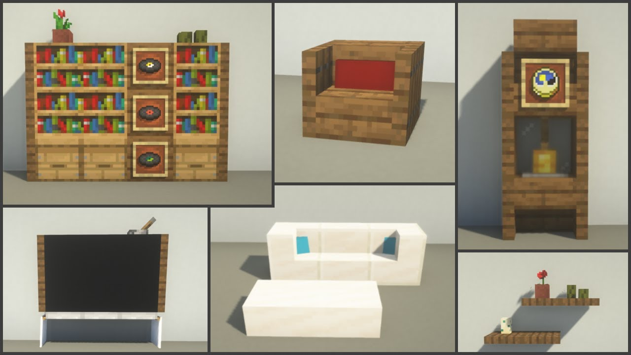 Minecraft 40 Living Room Decoration Ideas And Tricks Youtube