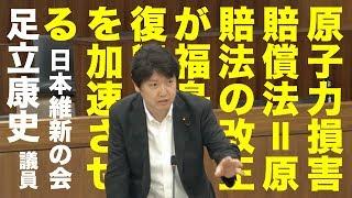 「原子力損害賠償法=原賠法の改正が福島復興を加速させる」日本維新の会・足立康史議員 2013/05/28 衆議院原子力問題調査特別委員会