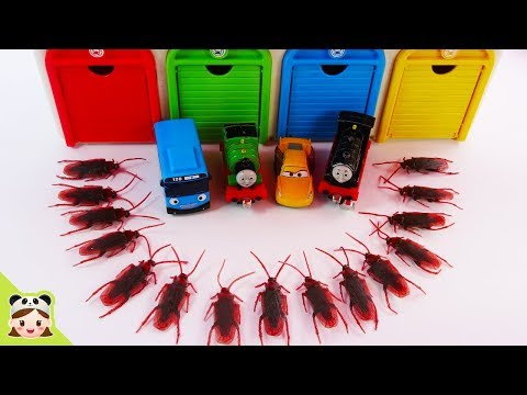 Thomas & Friends, Disney Cars and Tayo and Cockroach monster vs dinosaur and Insects.   Borami Toys