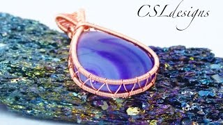 Open bezel wire wrapped cabochon