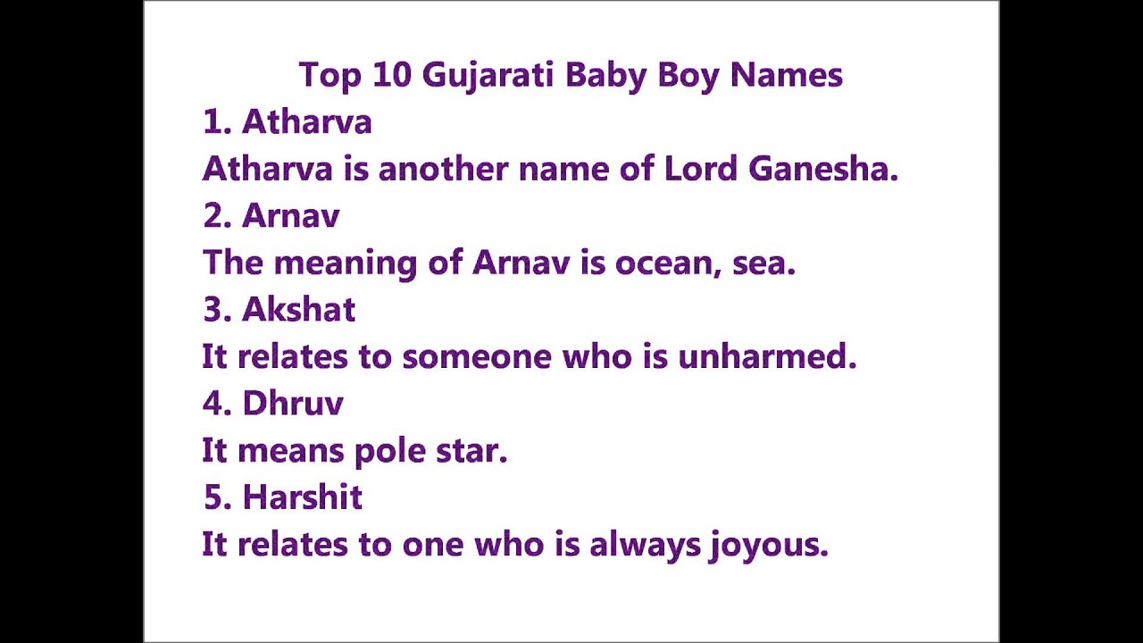 Top 10 Gujarati Baby Boy Names