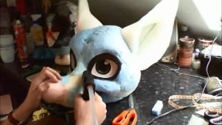 Fursuit Head Tutorial - Time Lapse - Part 3 - Furring/fleecing 1