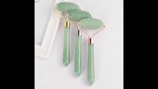 Ролик для лица с одной головкой натуральный зеленый авантюрин микро массаж иглой кристальный