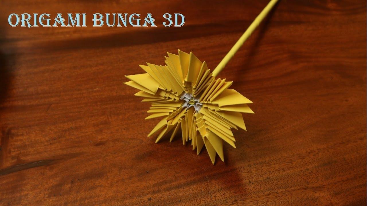 Cara membuat origami bunga 3 dimensi mudah
