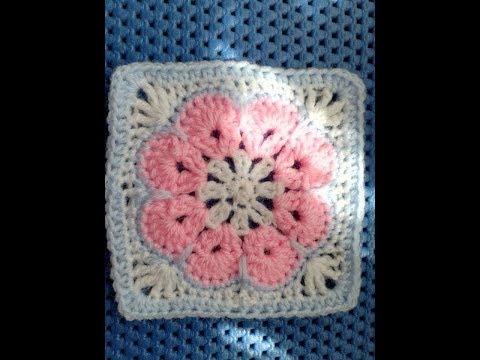 African Flower easy crochet square tutorial