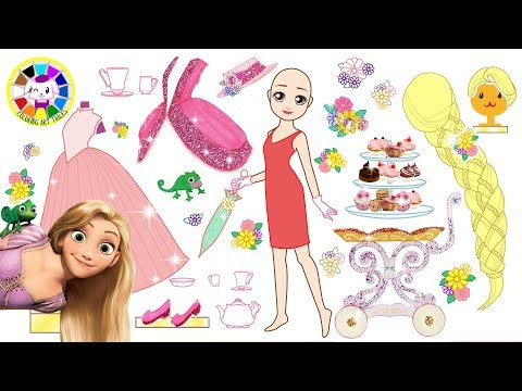 Disney Princess Rapunzel Make up, hair styling and Dress up for Tea Party