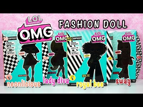 FULL SET LOL OMG Fashion Dolls ~ Lady Diva, Swag, Neonlicious, and Royal Bee LOL Surprise Unboxing 4