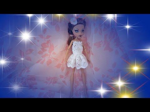 Ролик Одежда для кукол  своими руками красивое платье Монстер Хай  Monster High